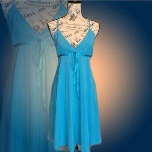 Lipstick Turquoise Pleated Spaghetti Strap Dress